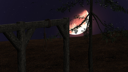 Spooky background with gallow and crows at night with red moon photo