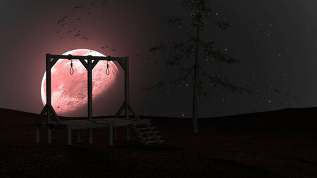 Spooky background with gallows and crows at night with red moon photo