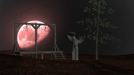 Angel of Death - Spooky background with gallows and crows at night with red moon photo