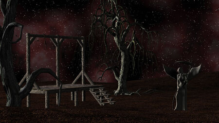 Angel of Death - Spooky background with gallows and crows at night with creepy trees photo