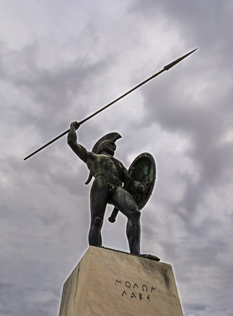 Leonidas monument at cloudy sky, Thermopylae, Greece photo