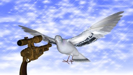 pacifism: Dove in the air with wings wide open against a gun in-front of the blue sky