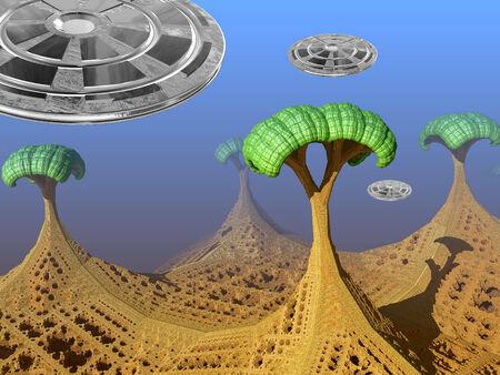 unreal unknown: Fantasy paesaggio alieno con alberi e tre gli UFO