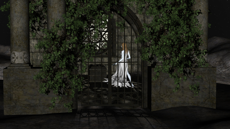 crypt: Magic witch of the night. Fantastic Princess inside Crypt at night.