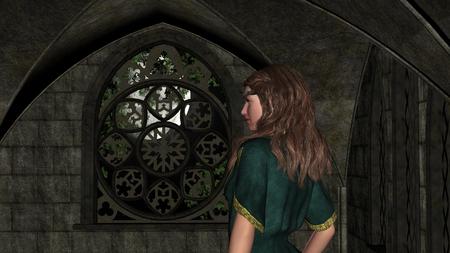 nocturne: Night magic scene of fantasy girl in the castle