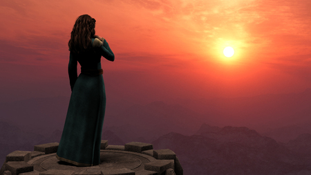 Woman standing on a tower in mountains at sunset 免版税图像 - 36372201