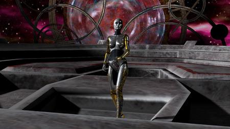 宇宙ゲートを介してロボットの侵入のイラスト