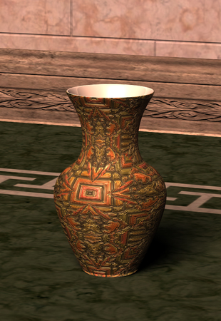 antiqued: Traditional metallic vase on Floor made of marble Stock Photo