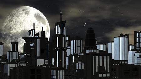 Night futuristic city scene with big moon 免版税图像 - 36846706