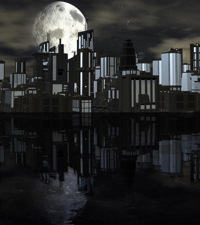 Night futuristic city scene with big moon