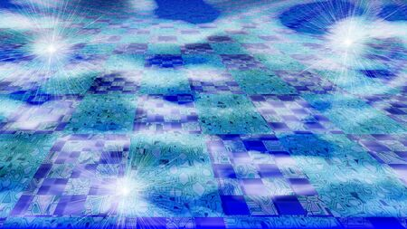 high speed internet: Cloud computing concept showing circuits over sky clouds