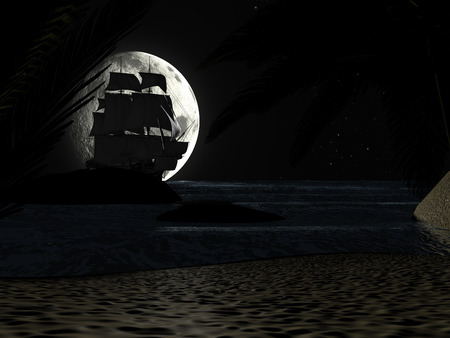 A tropical beach at night moonlight under starry sky, with palm trees and a sailboat