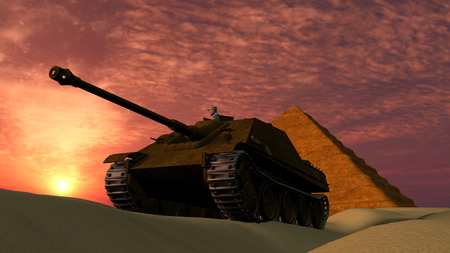 Old tank in desert with Pyramid background at sunset
