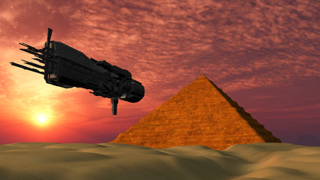 fantasy alien: UFO Spaceship Flying towards a Pyramid in the desert - Fantasy Alien Illustrations Stock Photo