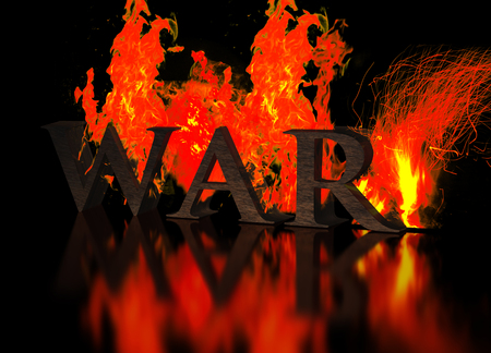 infernal: Grunge Metallic Letters write WAR in Flames at dark background