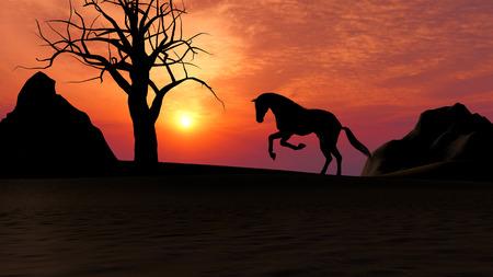 the arabian mare: Illustration of a horse running under sunset in the desert