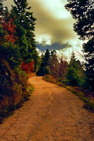 La pintura de un camino forestal que atraviesa los árboles
