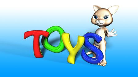 toon: Toon Cat Figure holding TOYS text