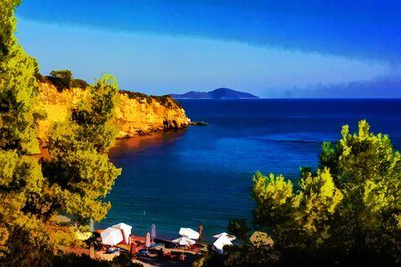 sporades: Red Castle beach of alonissos, Sporades, Greece - painting effect