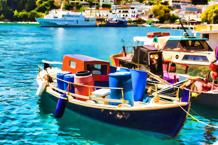 aegean: Wooden Fishing Boats in the beautiful Harbour of Alonissos island in Greece