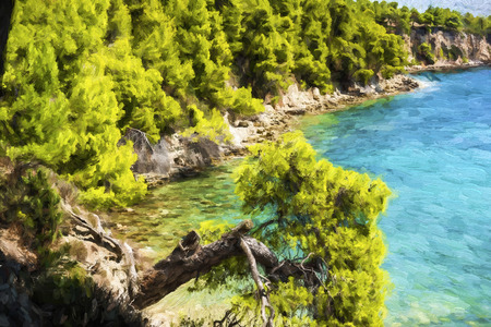sporades: Rocky beach of alonissos at Sporades, Greece - Painting effect