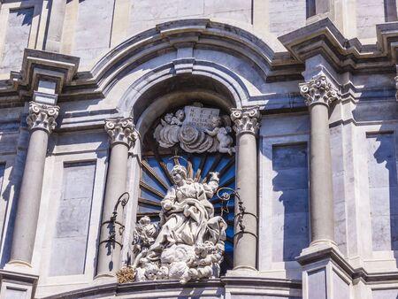 sant agata: Italy, Sicily, Catania, Duomo Square, details of the Cathedral facade - Cappella di Sant Agata, built in XI century