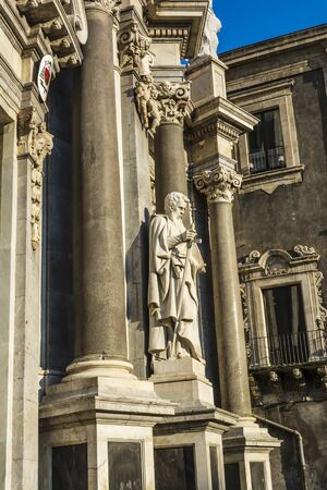 St. Peter cathedral church with statues of saints. Catania, Sicily, Italy photo