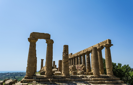 valley of the temples: Ancient greek Temple of Juno Hera God, Agrigento, valley of temples, Sicily, Italy Stock Photo