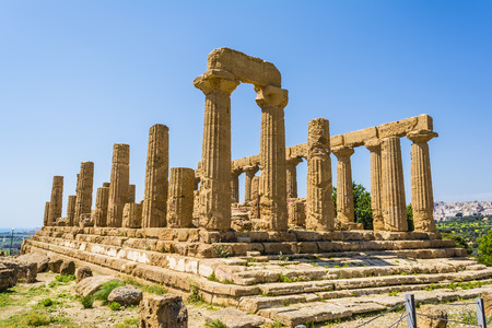 temple: Ancient greek Temple of Juno Hera God Agrigento valley of temples Sicily Italy Stock Photo