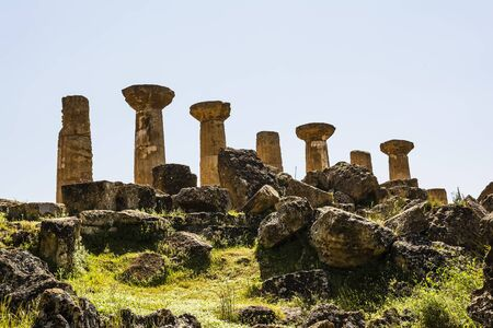 valley of the temples: Ancient columns of Hercules Temple at Italy Sicily Agrigento. Greek Temples Valley.
