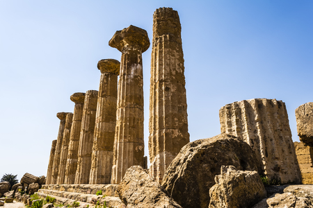 agrigento: Ancient columns of Hercules Temple at Italy Sicily Agrigento. Greek Temples Valley.