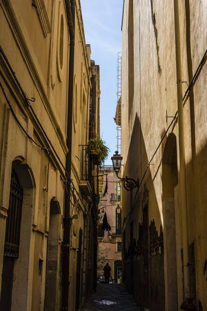 ortigia: Small street at Ortigia  Syracuse Sicily Italy