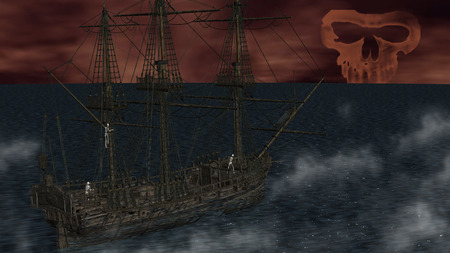 doomed: Skeletons in a ghost sailboat by night time
