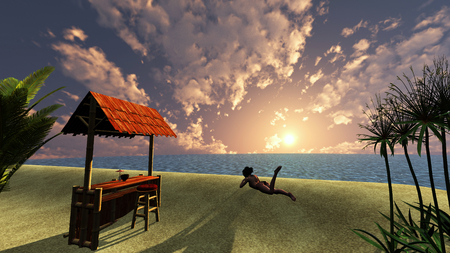 Young woman at Sunset over the ocean with tropical palm trees and a summer small bar. photo