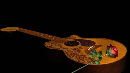 classical guitar: Acoustic classical guitar with red rose on black background Stock Photo