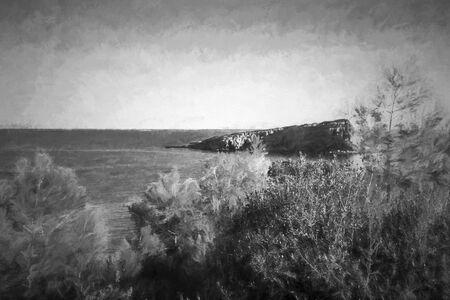 sporades: Red Castle beach of alonissos Sporades Greece  painting effect