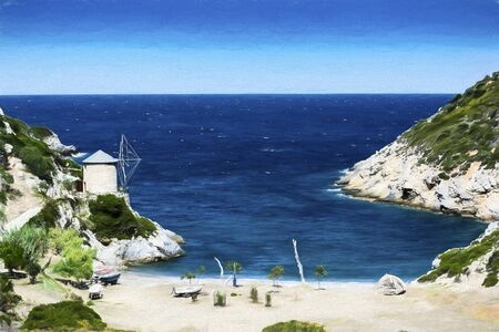 The beach of Lakes is a small rocky cove with some sand, found at north of the old town of Alonissos, known as Old Alonissos. 免版税图像 - 42071536
