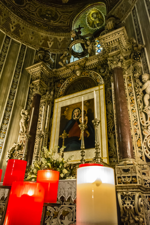 pantocrator: Virgin Mary icon inside Monreale cathedral at Sicily, Italy