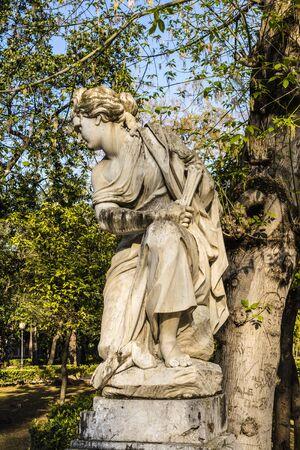 cogitate: Young Woman Statue in Villa Giulia, Palermo, Italy Stock Photo