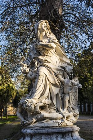 palermo   italy: Woman statue with angels in Villa Giulia, Palermo, Italy