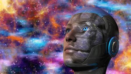 cabeza femenina: Mujer del Cyborg con el fondo del espacio profundo Foto de archivo
