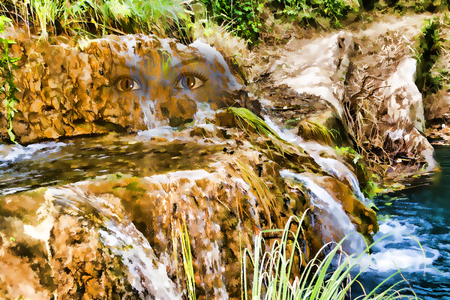 messinia: Mountain small lake and waterfall with face of a nymph. Greece, Messinia, Polilimnio Waterfalls - Painting effect