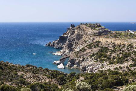 kyklades: Panoramic view of Gerontas beach, Milos island, Cyclades, Greece Stock Photo