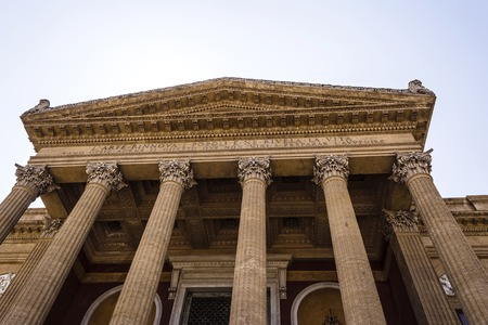 massimo: Entrance of Teatro Massimo Vittorio Emanuele in Palermo, Sicily. It is the third largest opera house in Europe.