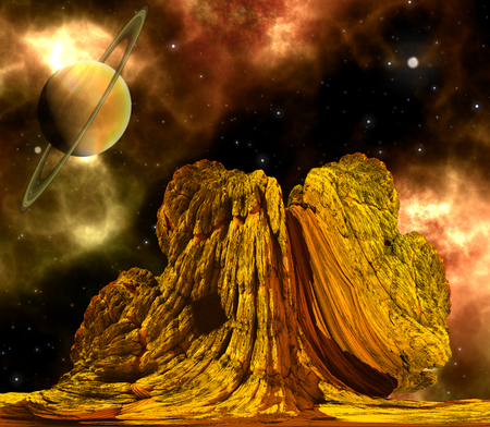 barren: Alien Rock with space background and a brown planet Stock Photo