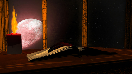 Illustration of open antique book and burning candle on red moon background