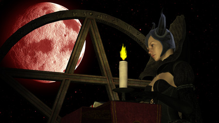 wiccan: Illustration of a witch reading Magic book with candle light at Red Moon background with Pentacle object