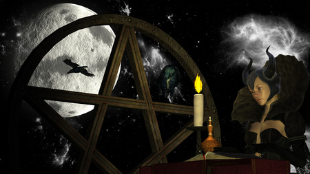 pentacle: Illustration of a witch reading Magic book with candle light at Moon background with Pentacle object and crows