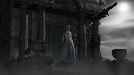 pixy: Illustration of Elf woman in old spooky mausoleum in moonlight Stock Photo