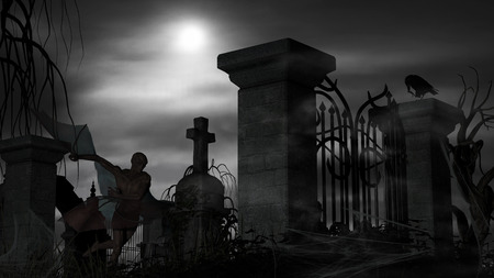 Illustration of a Vampire at a graveyard on a foggy night with full moon Stock Photo